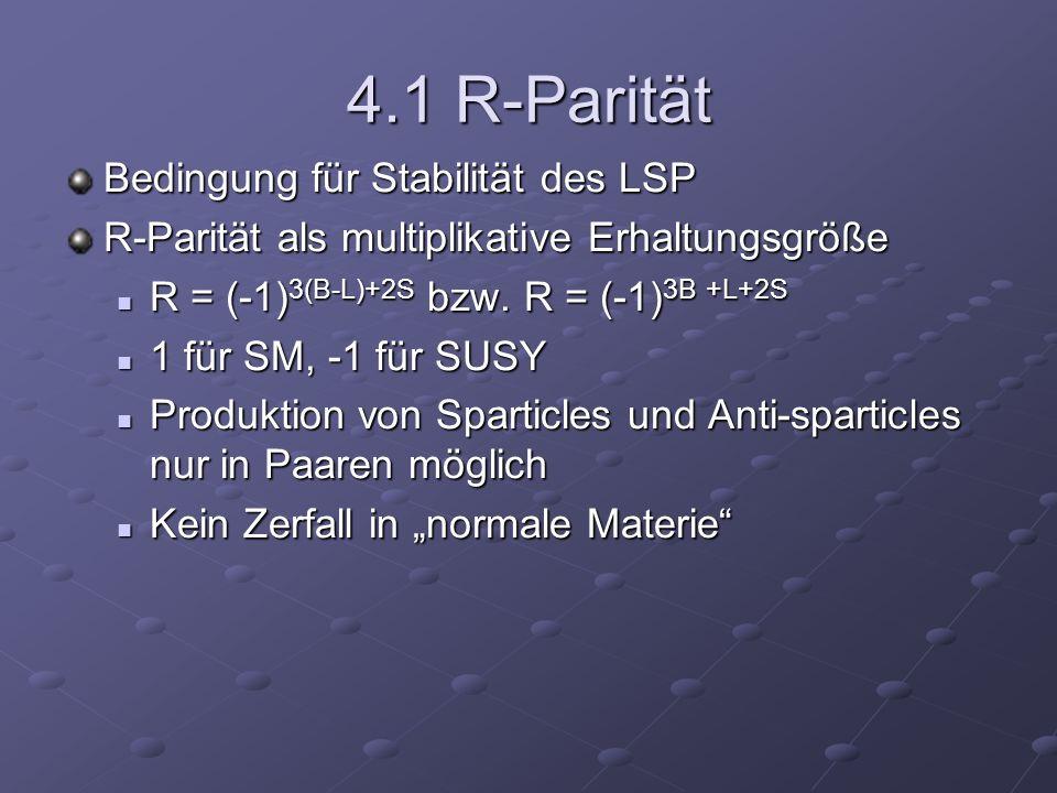 4.1 R-Parität Bedingung für Stabilität des LSP R-Parität als multiplikative Erhaltungsgröße R = (-1) 3(B-L)+2S bzw. R = (-1) 3B +L+2S R = (-1) 3(B-L)+