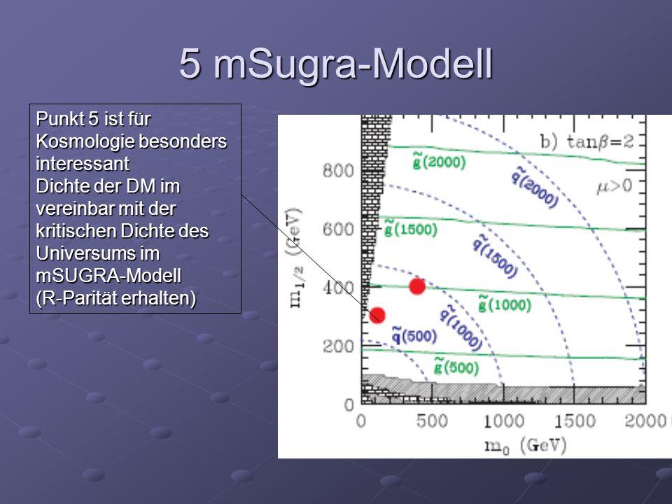 5 mSugra-Modell Punkt 5 ist für Kosmologie besonders interessant Dichte der DM im vereinbar mit der kritischen Dichte des Universums im mSUGRA-Modell