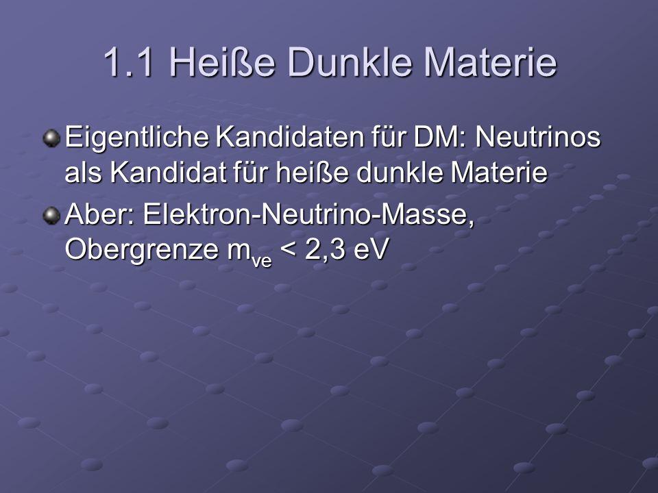 1.1 Heiße Dunkle Materie Eigentliche Kandidaten für DM: Neutrinos als Kandidat für heiße dunkle Materie Aber: Elektron-Neutrino-Masse, Obergrenze m νe