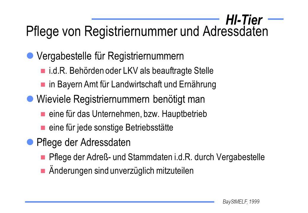 BayStMELF, 1999 HI-Tier Pflege von Registriernummer und Adressdaten Vergabestelle für Registriernummern i.d.R. Behörden oder LKV als beauftragte Stell