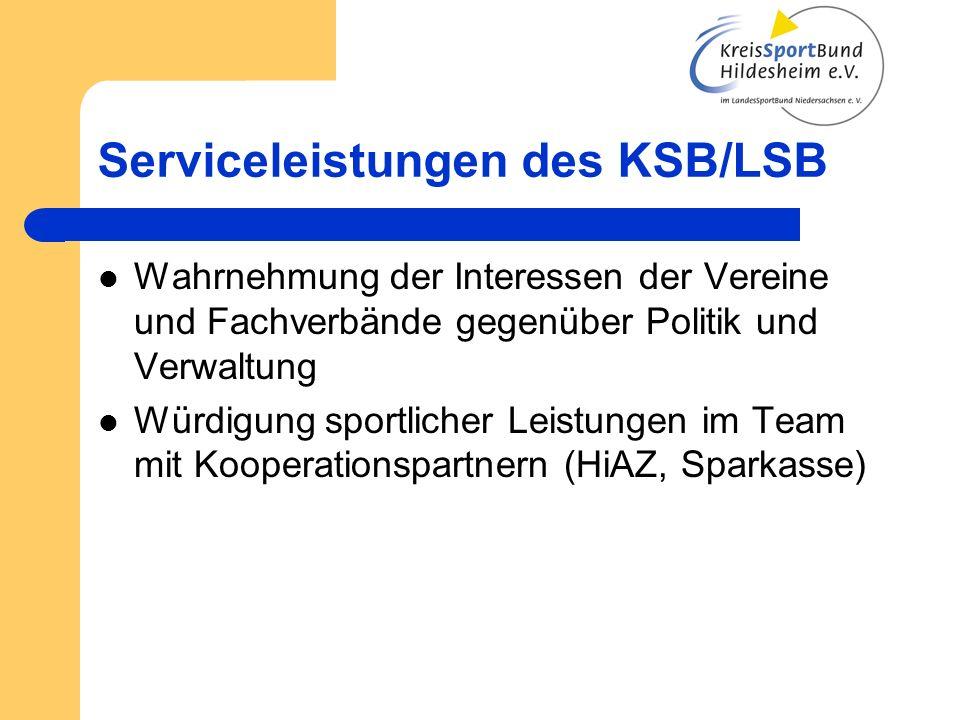 Serviceleistungen des KSB/LSB Wahrnehmung der Interessen der Vereine und Fachverbände gegenüber Politik und Verwaltung Würdigung sportlicher Leistungen im Team mit Kooperationspartnern (HiAZ, Sparkasse)