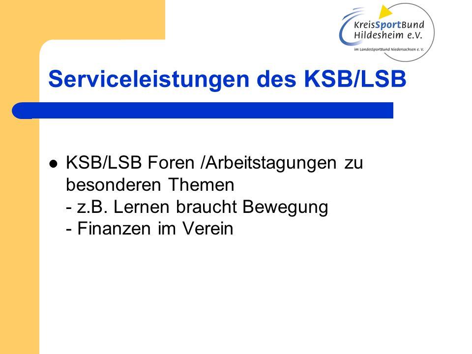 Serviceleistungen des KSB/LSB Förderprogramme - Sport pro Gesundheit - Kooperation Schule und Sportverein