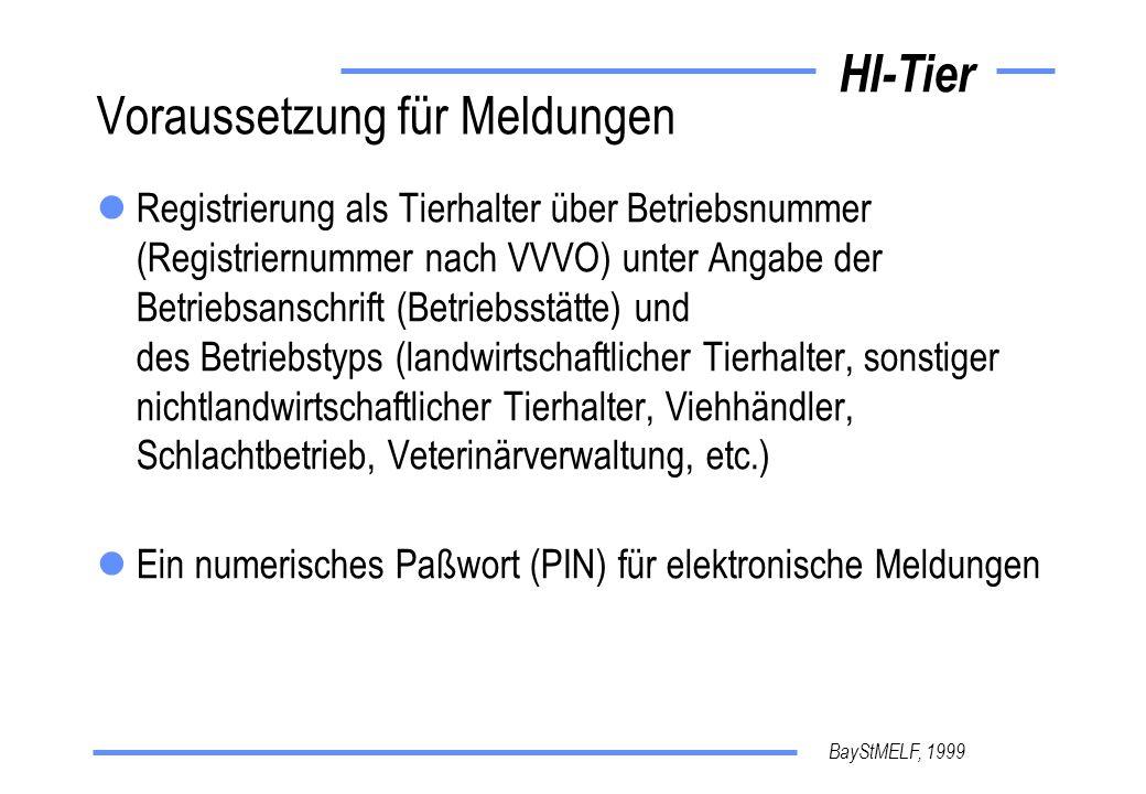 BayStMELF, 1999 HI-Tier Aufbau der Registriernummer Allgemeiner Aufbau 12 Stellen im internationalen Austausch 15 dann ISO-Land 276 für D Beispiel einer bayerischen Nummer vergeben vom Amt für Landwirtschaft dort auch BALIS-Nummer genannt