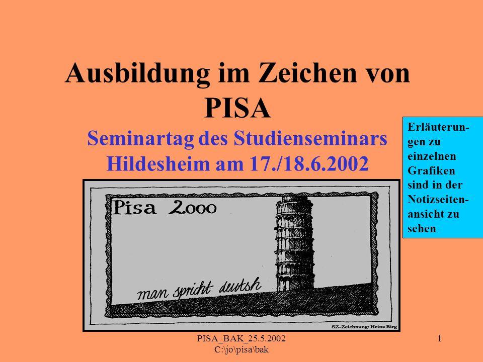 PISA_BAK_25.5.2002 C:\jo\pisa\bak 1 Ausbildung im Zeichen von PISA Seminartag des Studienseminars Hildesheim am 17./18.6.2002 Erläuterun- gen zu einze