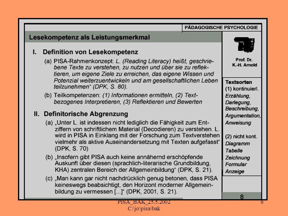 PISA_BAK_25.5.2002 C:\jo\pisa\bak 17 Fazit II: Ausbildung im Zeichen von PISA Verbesserung der Methodenkompetenzen Schulung von Diagnosefähigkeiten: -> SuS bei Lernschwierigkeiten -> Verbesserung der Lesekompetenz der SuS und RuR -> systematische Lernberatung der SuS und RuR -> Wirkungsweisen unseres Unterrichts -neue Wege des Beratens -> Selbstwahrnehmung - Grenzen meiner Wirksamkeit als Lehrer und Ausbilder -> Neue Wege des Bewertens -> Selbstevaluation unserer Ausbildungsveranstaltungen Hinweis auf Literatur und Material