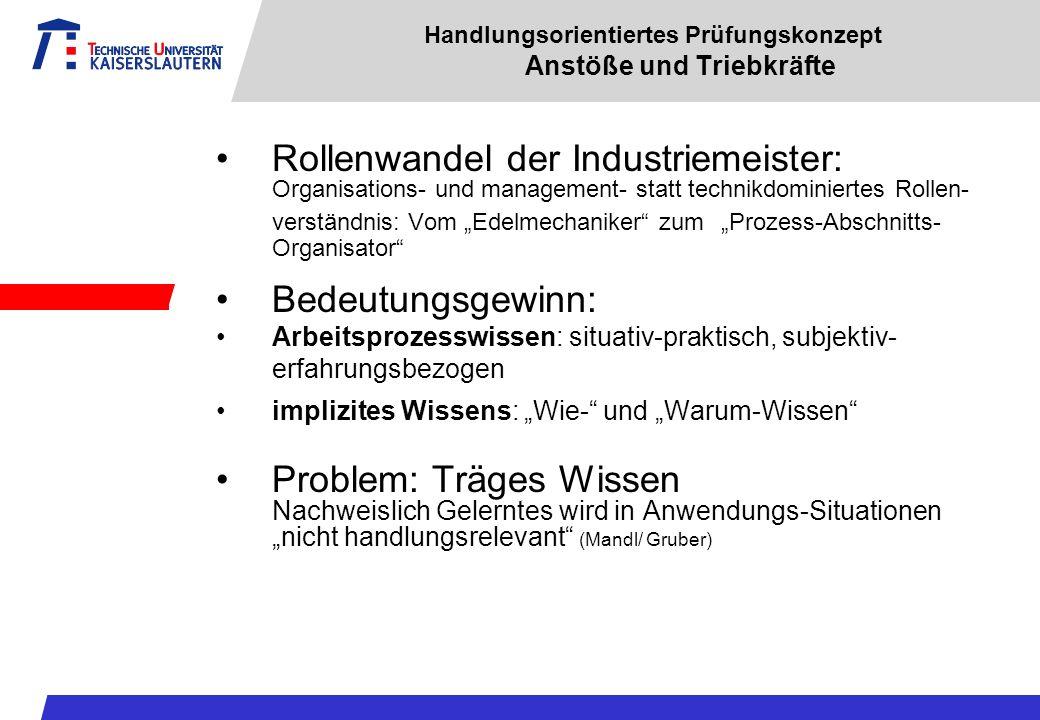 Handlungsorientiertes Prüfungskonzept Anstöße und Triebkräfte Rollenwandel der Industriemeister: Organisations- und management- statt technikdominiert