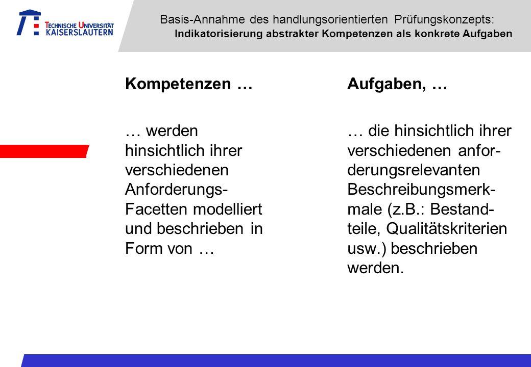 Basis-Annahme des handlungsorientierten Prüfungskonzepts: Indikatorisierung abstrakter Kompetenzen als konkrete Aufgaben Kompetenzen … … werden hinsic
