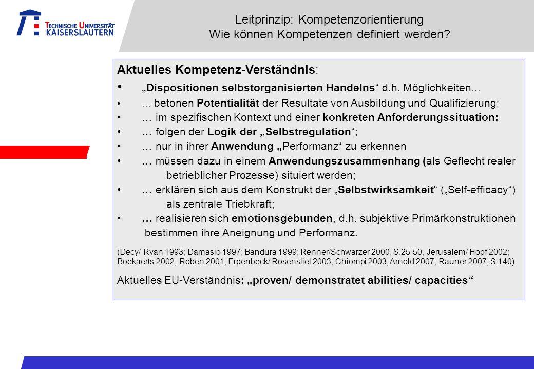 Leitprinzip: Kompetenzorientierung Wie können Kompetenzen definiert werden? Aktuelles Kompetenz-Verständnis: Dispositionen selbstorganisierten Handeln
