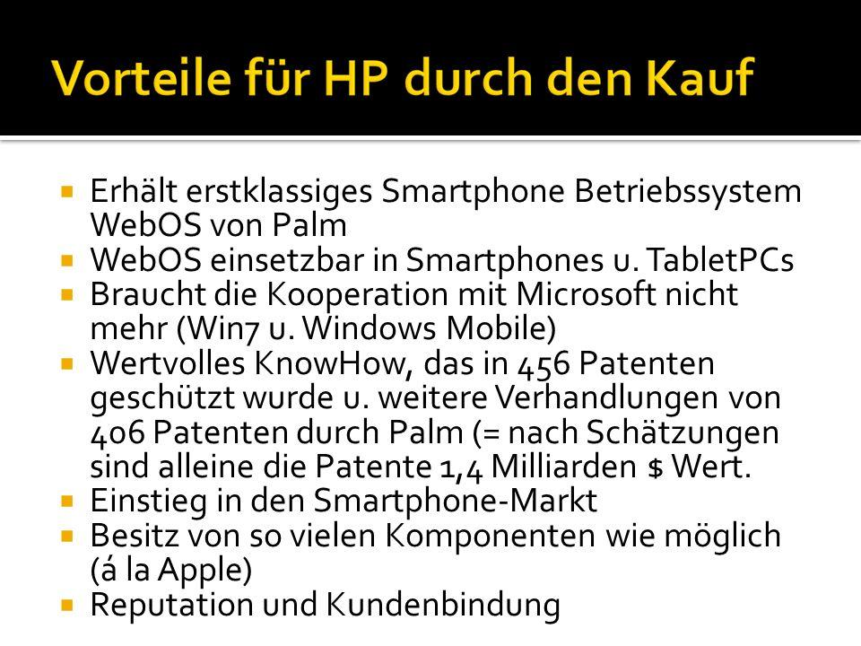 Erhält erstklassiges Smartphone Betriebssystem WebOS von Palm WebOS einsetzbar in Smartphones u. TabletPCs Braucht die Kooperation mit Microsoft nicht