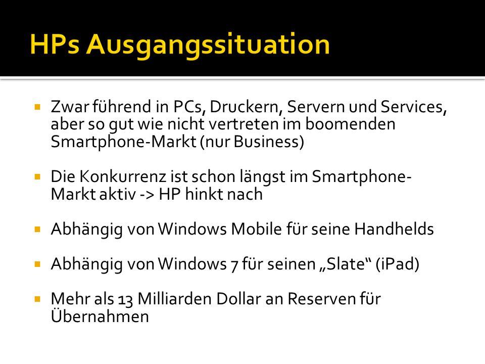 Gute Software in schlechter Hardware Schlechte Vermarktung der Highlights: Palm Pre und Palm Pixi, in D z.B.