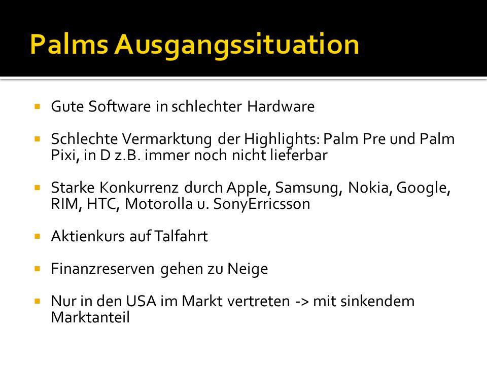 Gute Software in schlechter Hardware Schlechte Vermarktung der Highlights: Palm Pre und Palm Pixi, in D z.B. immer noch nicht lieferbar Starke Konkurr