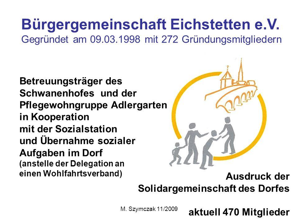 M. Szymczak 11/2009 Bürgergemeinschaft Eichstetten e.V. Gegründet am 09.03.1998 mit 272 Gründungsmitgliedern Betreuungsträger des Schwanenhofes und de