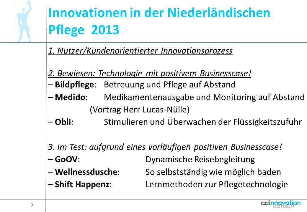 Innovationen in der Niederländischen Pflege 2013 2 1. Nutzer/Kundenorientierter Innovationsprozess 2. Bewiesen: Technologie mit positivem Businesscase