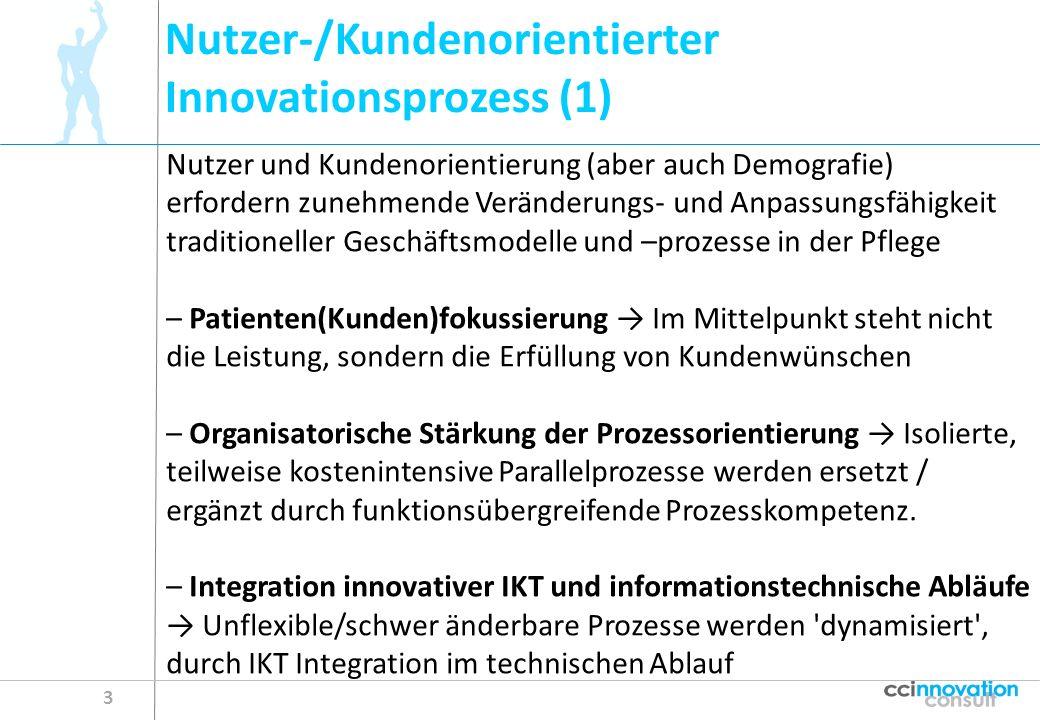 Nutzer-/Kundenorientierter Innovationsprozess (1) 3 Nutzer und Kundenorientierung (aber auch Demografie) erfordern zunehmende Veränderungs- und Anpass