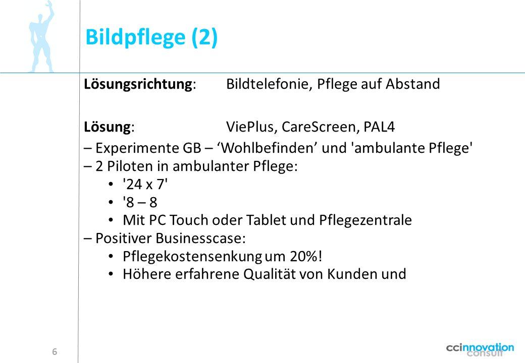 Bildpflege (2) 6 Lösungsrichtung:Bildtelefonie, Pflege auf Abstand Lösung:ViePlus, CareScreen, PAL4 – Experimente GB – Wohlbefinden und 'ambulante Pfl