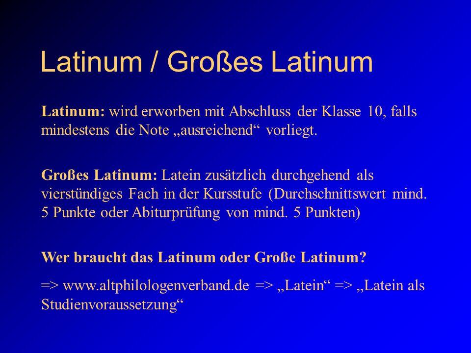 Latinum / Großes Latinum Latinum: wird erworben mit Abschluss der Klasse 10, falls mindestens die Note ausreichend vorliegt.