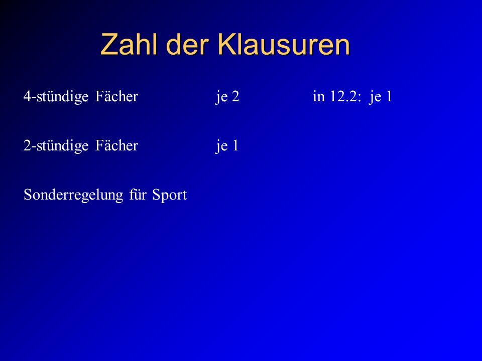 Zahl der Klausuren 4-stündige Fächerje 2 in 12.2: je 1 2-stündige Fächerje 1 Sonderregelung für Sport