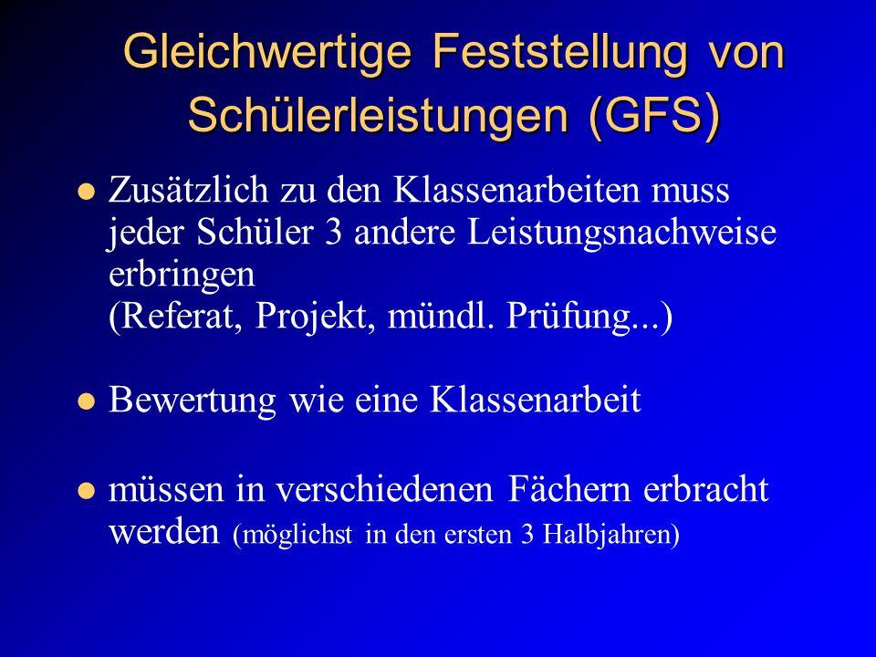 Gleichwertige Feststellung von Schülerleistungen (GFS ) Zusätzlich zu den Klassenarbeiten muss jeder Schüler 3 andere Leistungsnachweise erbringen (Re