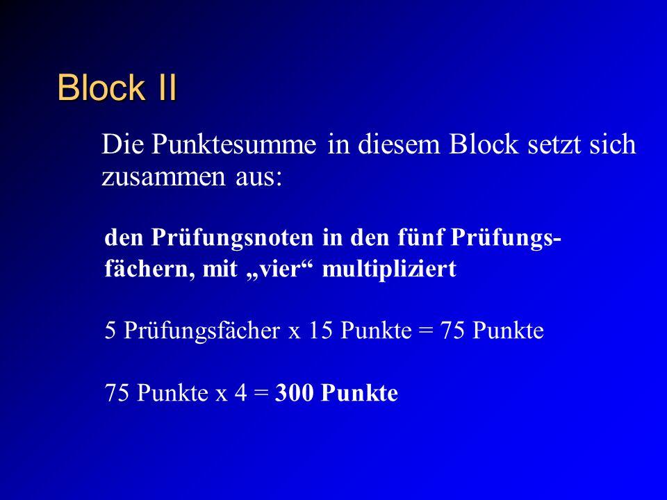Block II den Prüfungsnoten in den fünf Prüfungs- fächern, mit vier multipliziert 5 Prüfungsfächer x 15 Punkte = 75 Punkte 75 Punkte x 4 = 300 Punkte Die Punktesumme in diesem Block setzt sich zusammen aus: