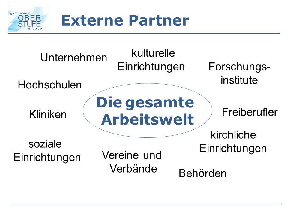 Externe Partner Die gesamte Arbeitswelt Unternehmen Behörden Forschungs- institute Kliniken soziale Einrichtungen kulturelle Einrichtungen Freiberufle