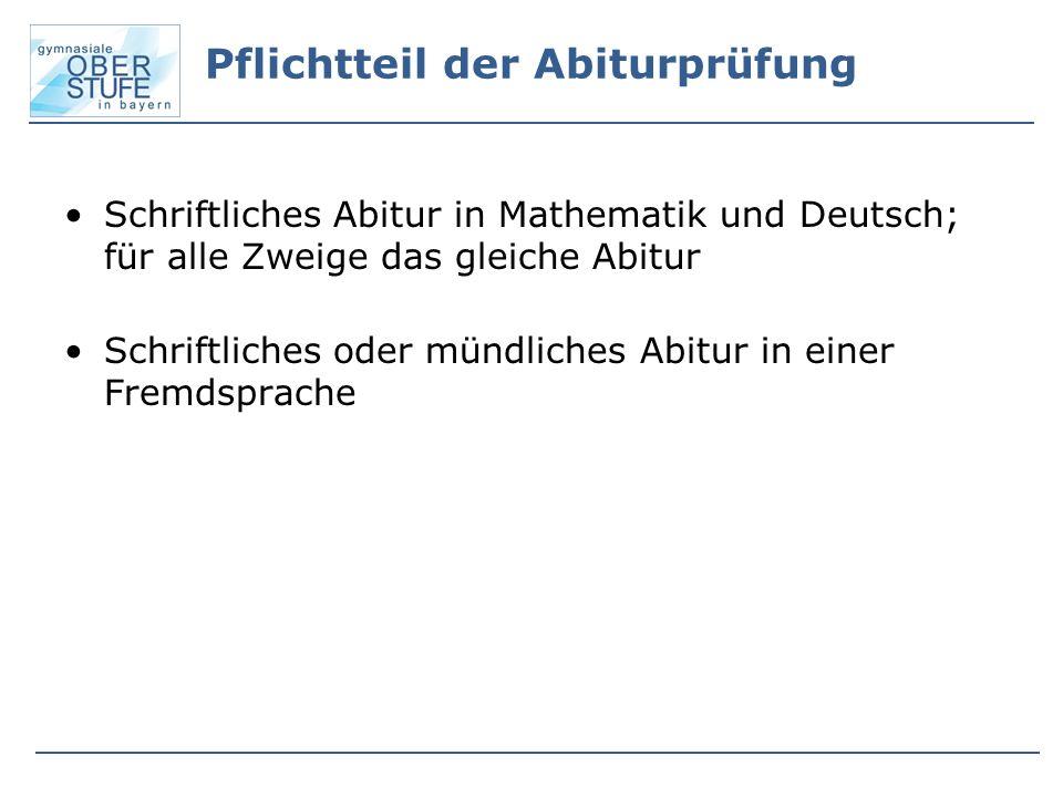 Pflichtteil der Abiturprüfung Schriftliches Abitur in Mathematik und Deutsch; für alle Zweige das gleiche Abitur Schriftliches oder mündliches Abitur