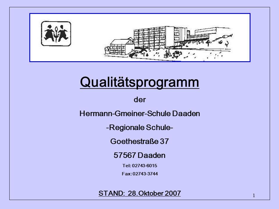 1 Qualitätsprogramm der Hermann-Gmeiner-Schule Daaden -Regionale Schule- Goethestraße 37 57567 Daaden Tel: 02743-6015 Fax: 02743-3744 info@regionale-s