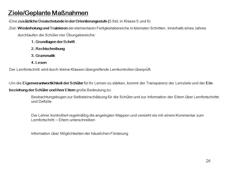 26 Ziele/Geplante Maßnahmen -Eine zusätzliche Deutschstunde in der Orientierungsstufe (5 Std. in Klasse 5 und 6) Ziel: Wiederholung und Trainieren der