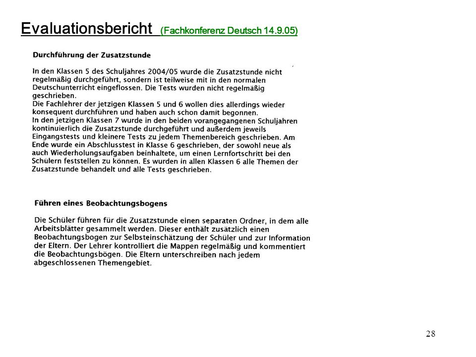 28 Evaluationsbericht (Fachkonferenz Deutsch 14.9.05)