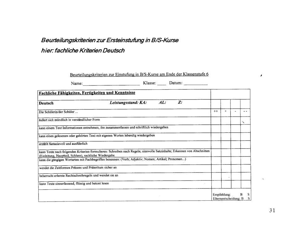 31 ++ + Beurteilungskriterien zur Ersteinstufung in B/S-Kurse hier: fachliche Kriterien Deutsch