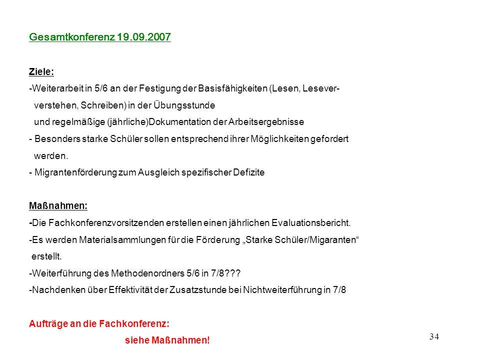 34 Gesamtkonferenz 19.09.2007 Ziele: -Weiterarbeit in 5/6 an der Festigung der Basisfähigkeiten (Lesen, Lesever- verstehen, Schreiben) in der Übungsst
