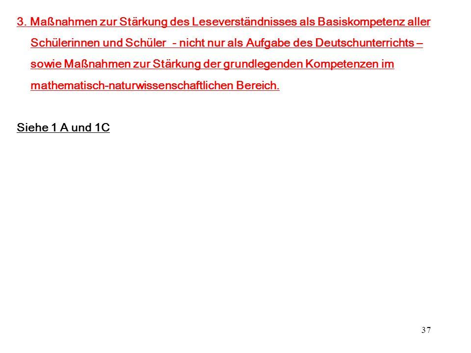 37 3. Maßnahmen zur Stärkung des Leseverständnisses als Basiskompetenz aller Schülerinnen und Schüler - nicht nur als Aufgabe des Deutschunterrichts –