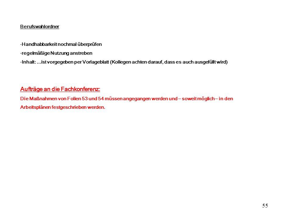55 Berufswahlordner -Handhabbarkeit nochmal überprüfen -regelmäßige Nutzung anstreben -Inhalt:...ist vorgegeben per Vorlageblatt (Kollegen achten dara
