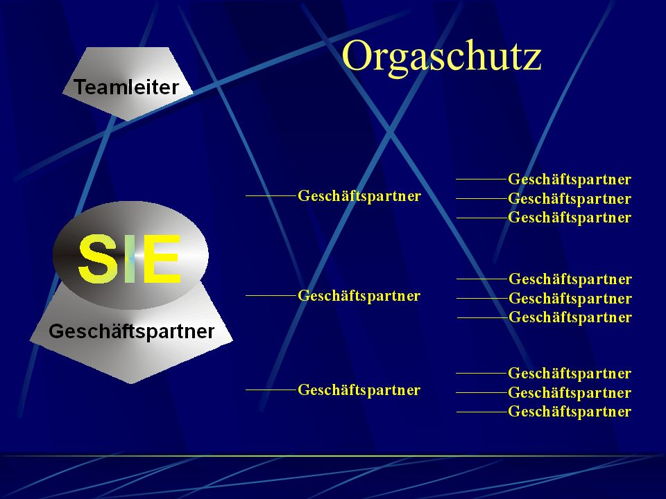 Orga - Schutz Der Geschäftspartner hinterlässt 2 von seinen 3 direkten Geschäftspartnern dem bestehenden Teamleiter, wegen Neugründung seiner eigenen Teamleiter-Organisation.