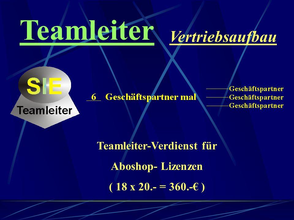 Teamleiter Vertriebsaufbau Teamleiter-Verdienst für Aboshop-Lizenzen ( 9 x 20.- = 180.- )