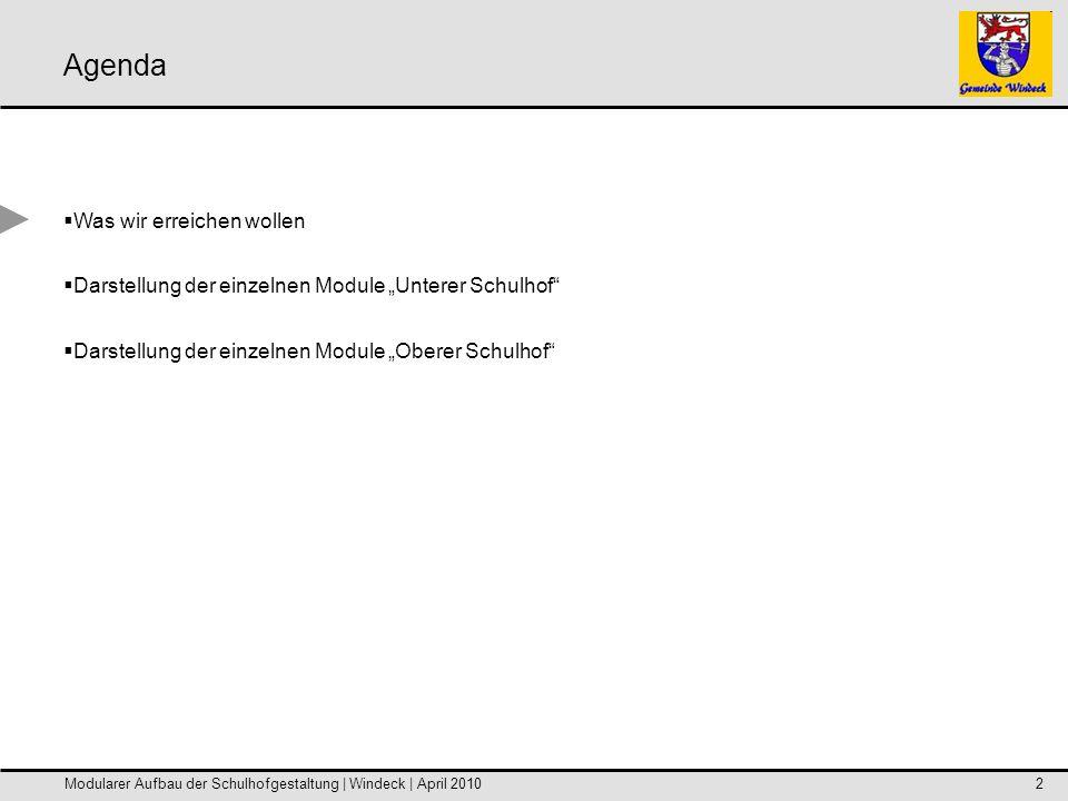 Modularer Aufbau der Schulhofgestaltung | Windeck | April 20102 Was wir erreichen wollen Darstellung der einzelnen Module Unterer Schulhof Darstellung