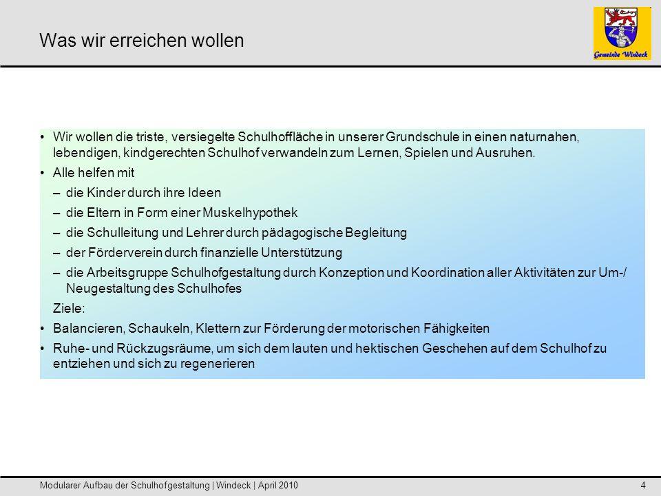 Modularer Aufbau der Schulhofgestaltung | Windeck | April 20105 Das modulare Planungskonzept: Darstellung der einzelnen Module Unterer Schulhof Modul 1 -Grünes Klassenzimmer /Amphitheater Zusätzl.