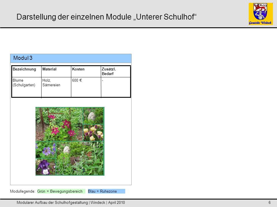 Modularer Aufbau der Schulhofgestaltung | Windeck | April 20107 Darstellung der einzelnen Module Unterer Schulhof Modul 4 -2300 Edelstahl2 kleine Fußballtore (vandalismus- sicher) Zusätzl.