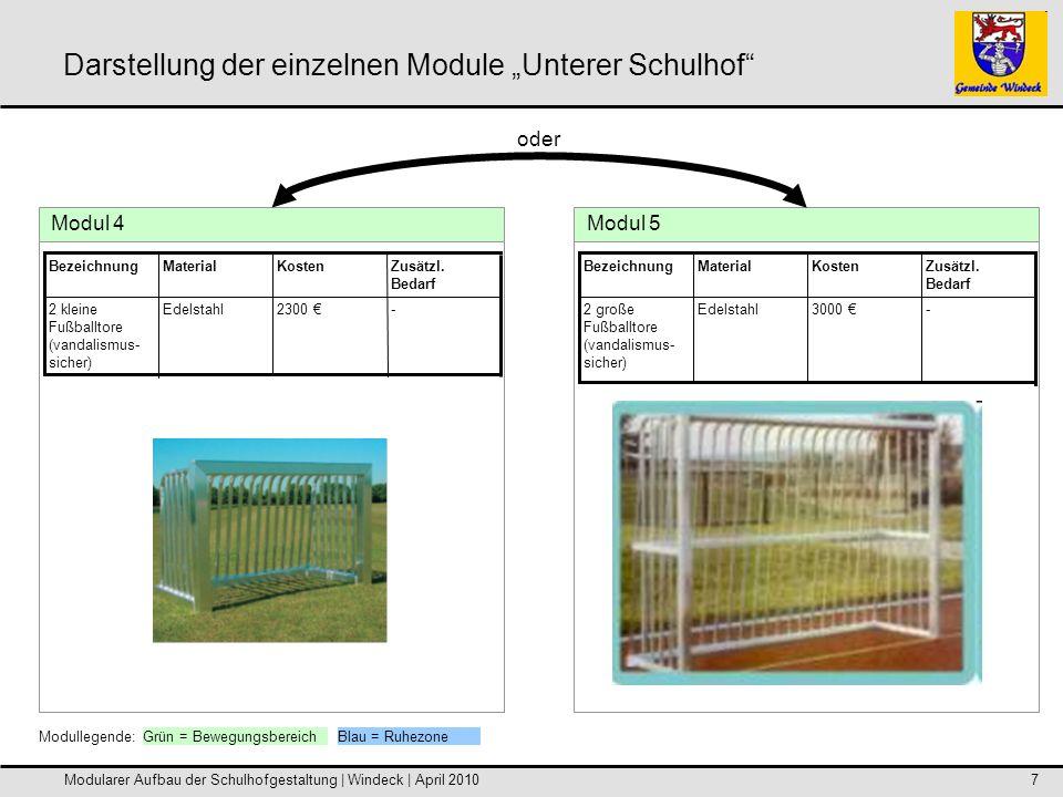 Modularer Aufbau der Schulhofgestaltung | Windeck | April 20108 Darstellung der einzelnen Module Unterer Schulhof Modul 6 -1600 Metall2 Basketball- körbe Zusätzl.