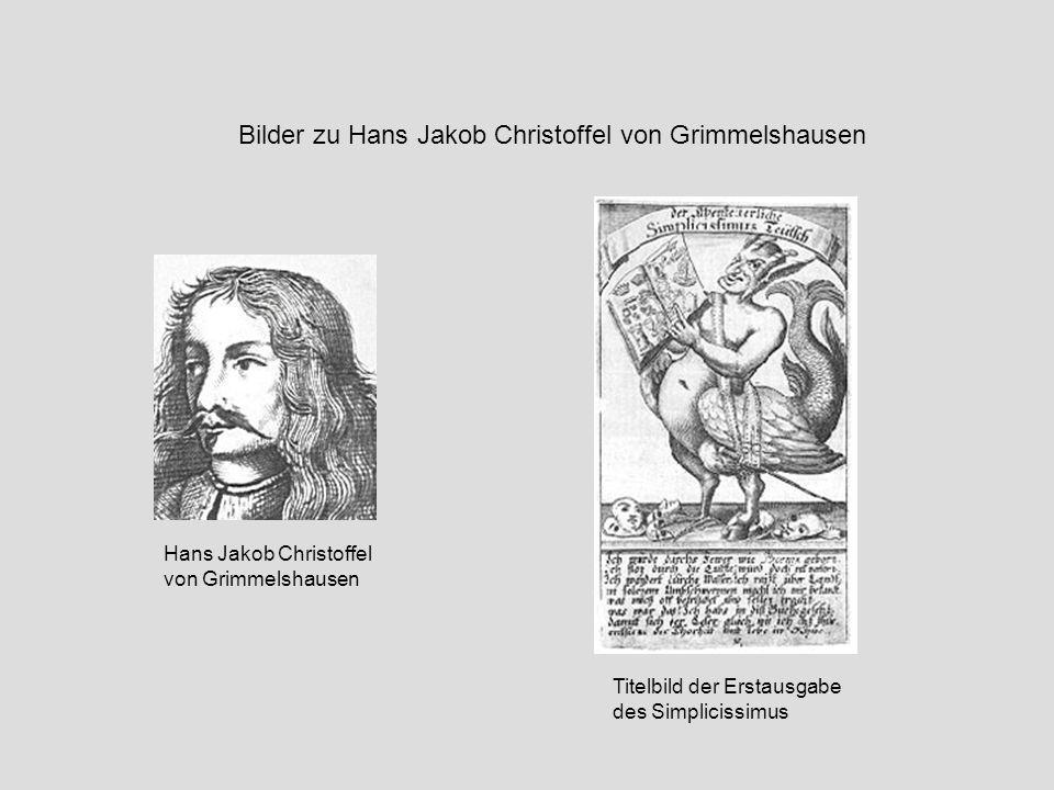 Hans Jakob Christoffel von Grimmelshausen Bilder zu Hans Jakob Christoffel von Grimmelshausen Titelbild der Erstausgabe des Simplicissimus