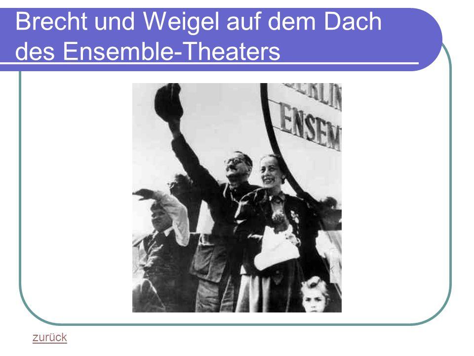 Brecht und Weigel auf dem Dach des Ensemble-Theaters zurück