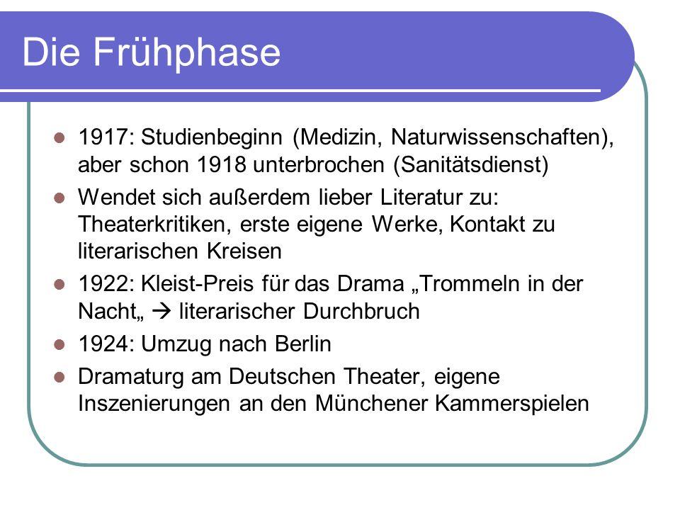 Die Frühphase 1917: Studienbeginn (Medizin, Naturwissenschaften), aber schon 1918 unterbrochen (Sanitätsdienst) Wendet sich außerdem lieber Literatur