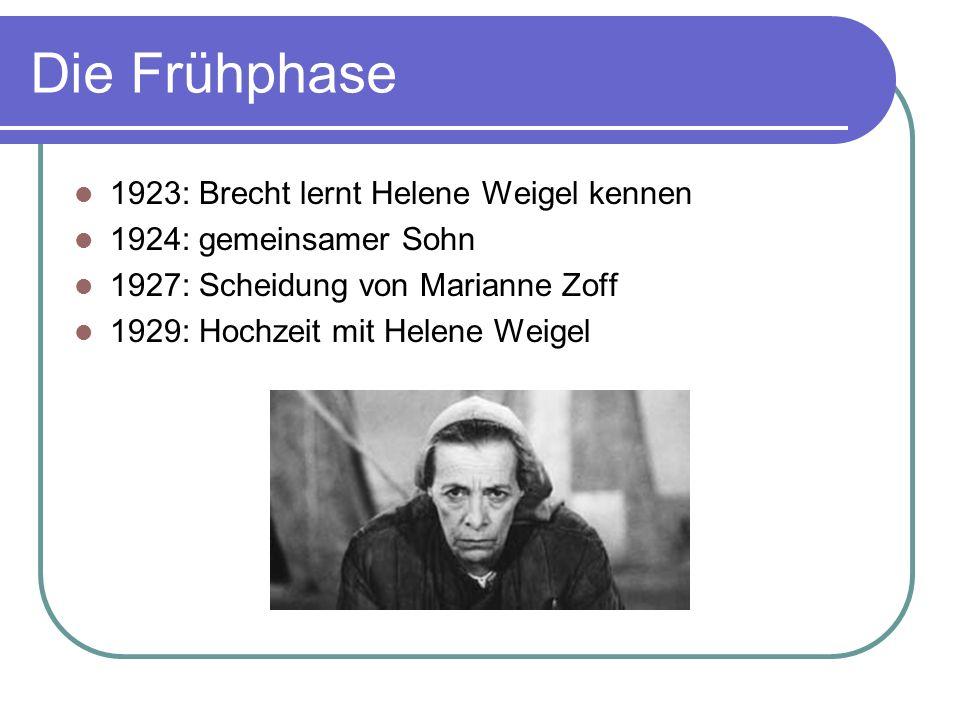 Die Frühphase 1923: Brecht lernt Helene Weigel kennen 1924: gemeinsamer Sohn 1927: Scheidung von Marianne Zoff 1929: Hochzeit mit Helene Weigel