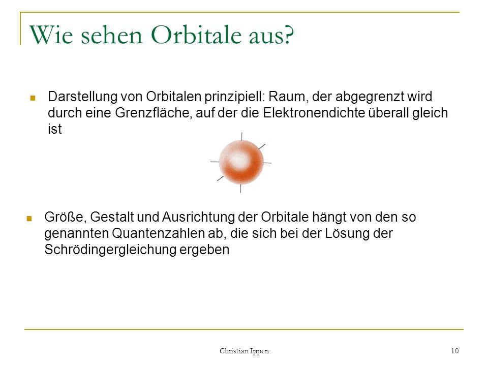 Christian Ippen 10 Wie sehen Orbitale aus? Darstellung von Orbitalen prinzipiell: Raum, der abgegrenzt wird durch eine Grenzfläche, auf der die Elektr