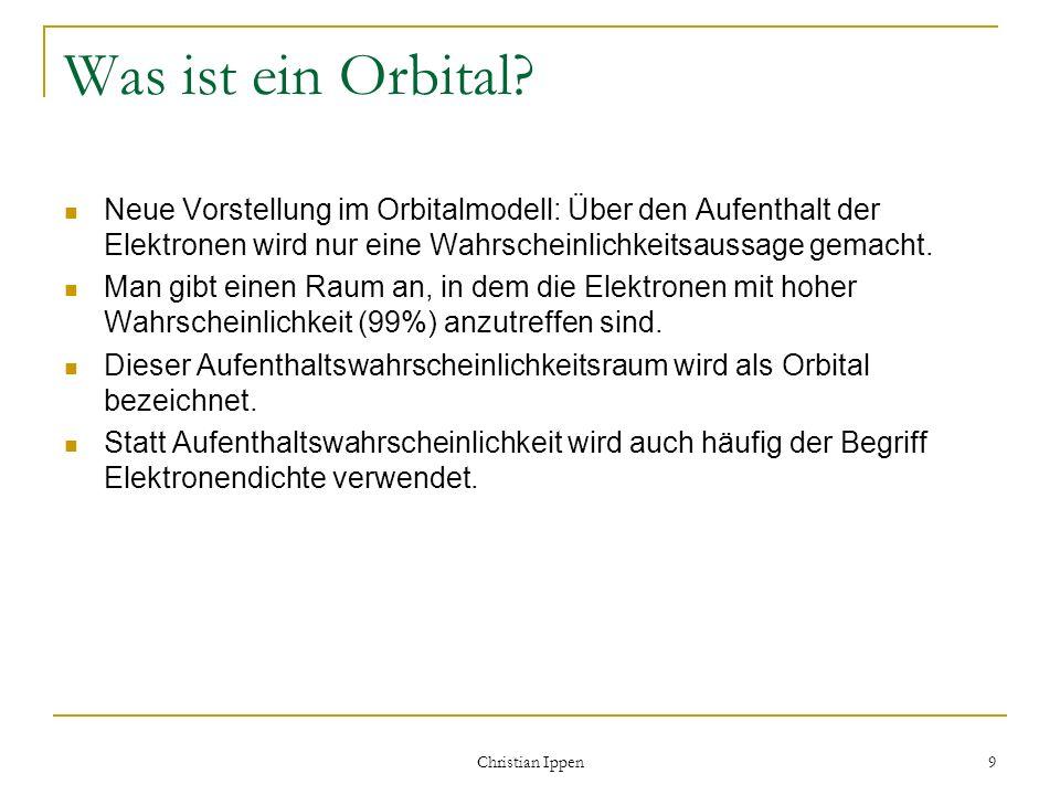 Christian Ippen 9 Was ist ein Orbital? Neue Vorstellung im Orbitalmodell: Über den Aufenthalt der Elektronen wird nur eine Wahrscheinlichkeitsaussage