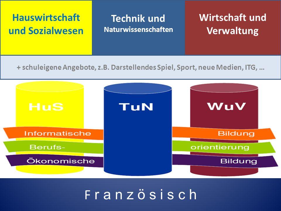 Hauswirtschaft und Sozialwesen Technik und Naturwissenschaften Wirtschaft und Verwaltung + schuleigene Angebote, z.B.