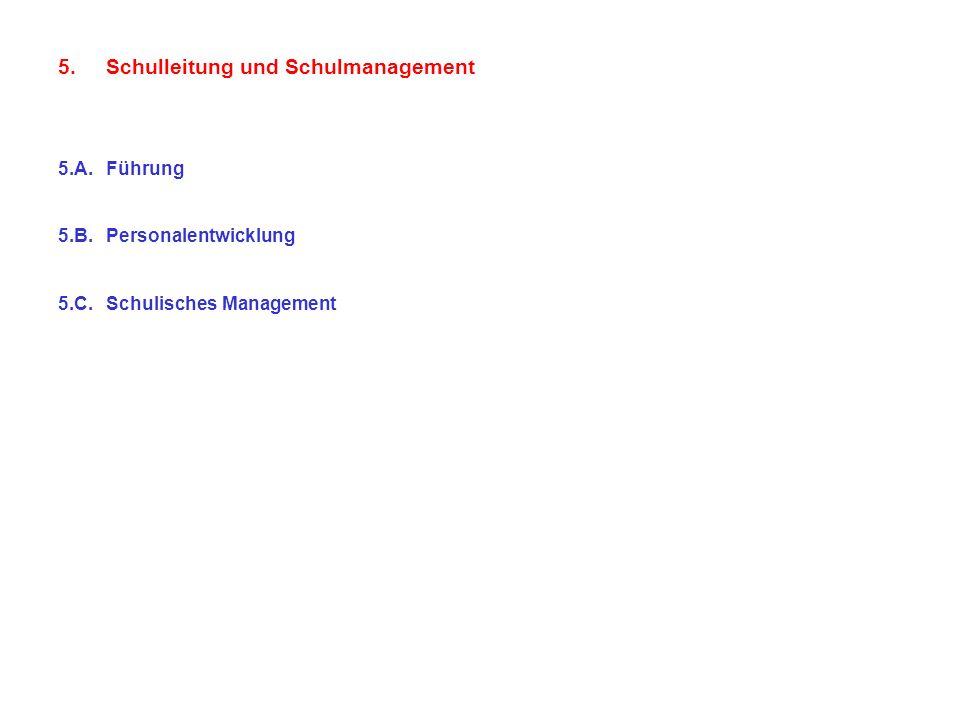 5.Schulleitung und Schulmanagement 5.A.Führung 5.B.Personalentwicklung 5.C.Schulisches Management