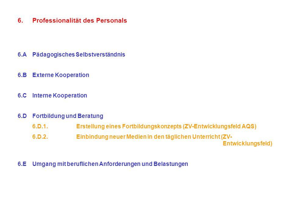 6.Professionalität des Personals 6.APädagogisches Selbstverständnis 6.BExterne Kooperation 6.CInterne Kooperation 6.DFortbildung und Beratung 6.D.1.Er