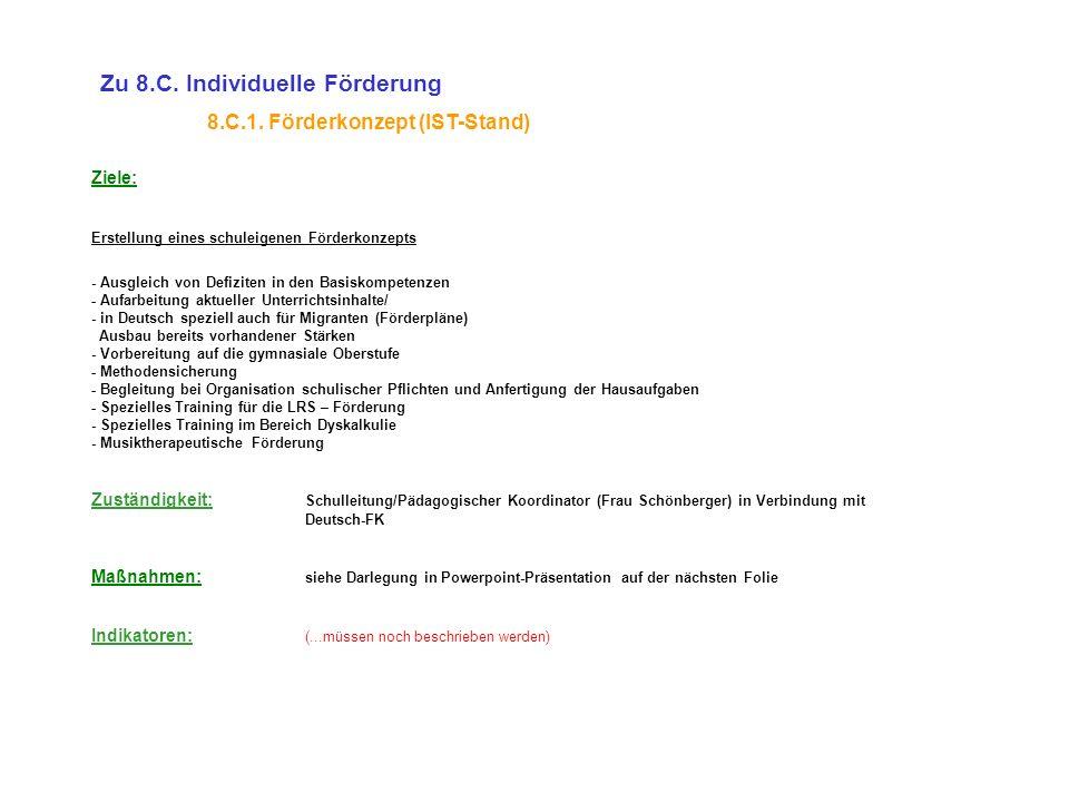 Ziele: Erstellung eines schuleigenen Förderkonzepts - Ausgleich von Defiziten in den Basiskompetenzen - Aufarbeitung aktueller Unterrichtsinhalte/ - i