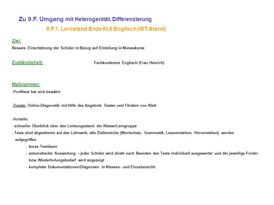 Zu 9.F. Umgang mit Heterogenität, Differenzierung 9.F.1. Lernstand Ende Kl.6 Englisch (IST-Stand) Ziel: Bessere Einschätzung der Schüler in Bezug auf