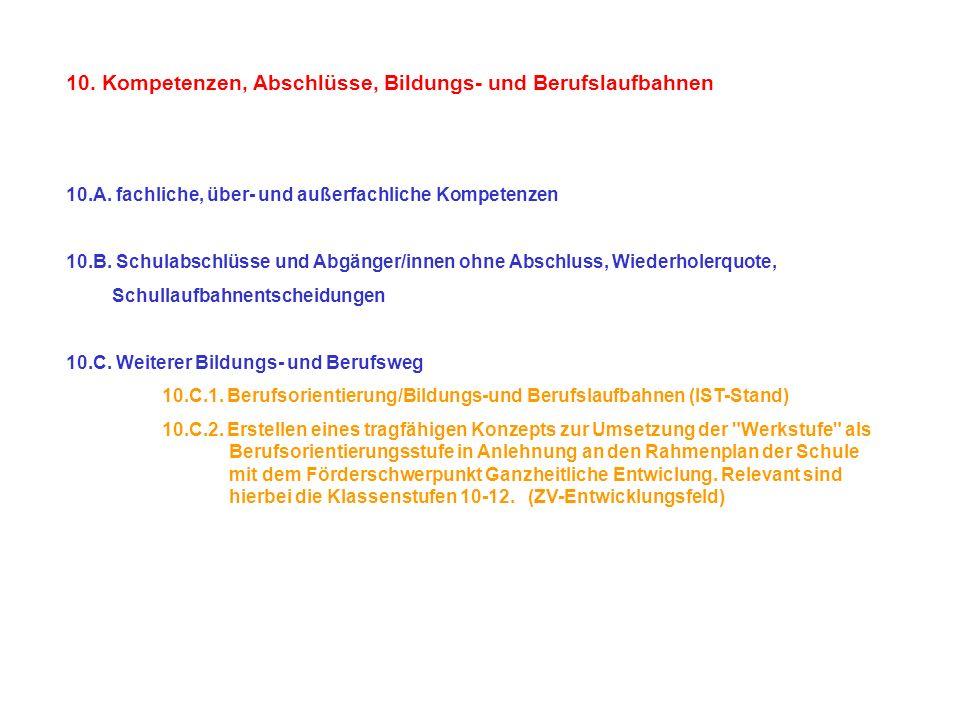 10. Kompetenzen, Abschlüsse, Bildungs- und Berufslaufbahnen 10.A. fachliche, über- und außerfachliche Kompetenzen 10.B. Schulabschlüsse und Abgänger/i